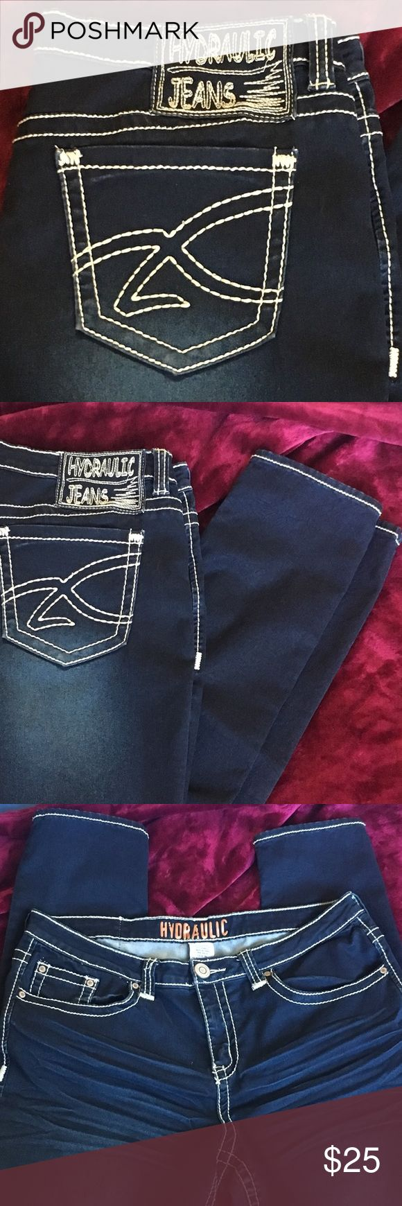 Hydraulic Jeans Straight Leg 16 Hydraulic Jeans Straight Leg 16, Dark Blue with Bright Stitching, Stretchy Comfortable! Great Condition. Hydraulic Jeans Straight Leg
