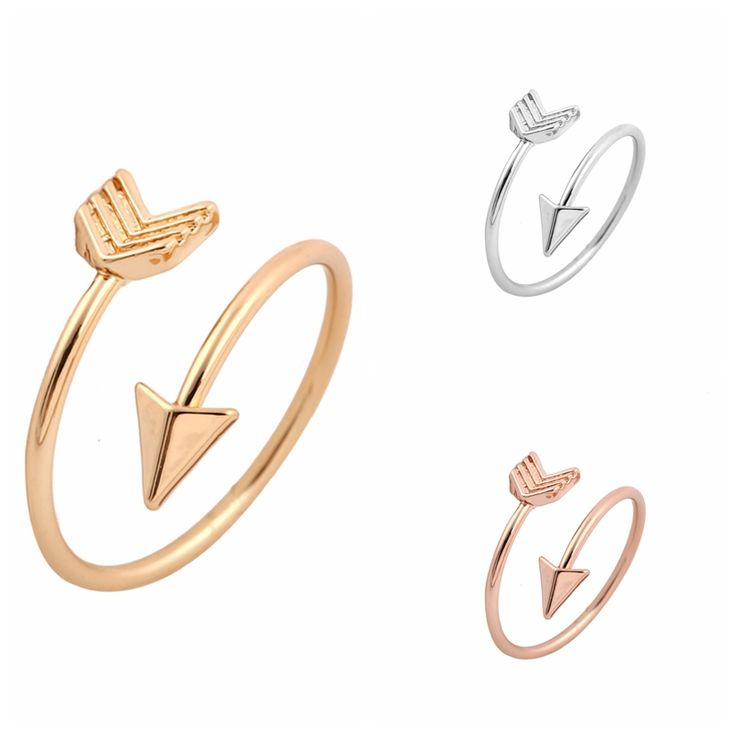 Open ended arrow ring. Cute and great for pairing with other mini rings.  Available in gold and silver.