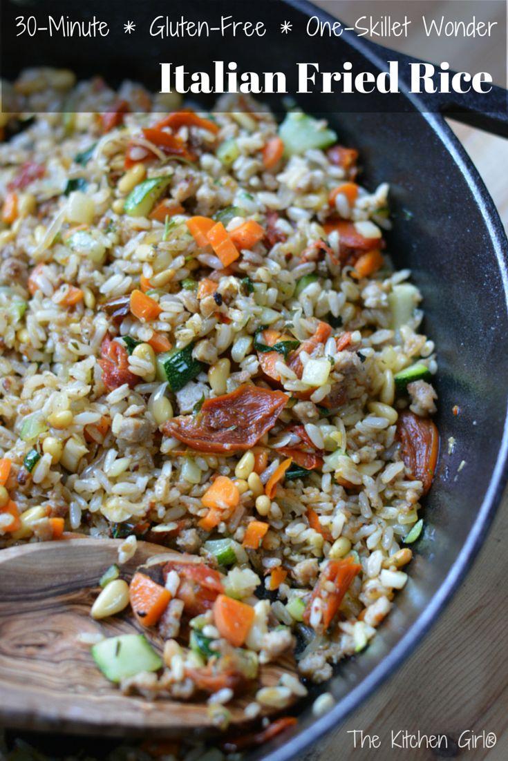 Italian Fried Rice - 30 minute, skillet meal made with ground turkey & lots of veggies. Gluten-free! thekitchengirl.com