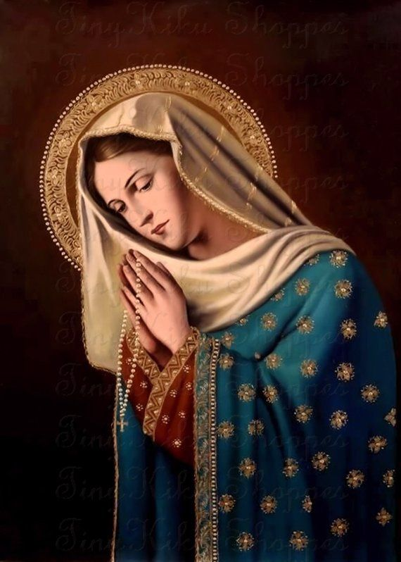 BLESSED VIRGIN MARY Praying The Rosary, Vintage #332. Art