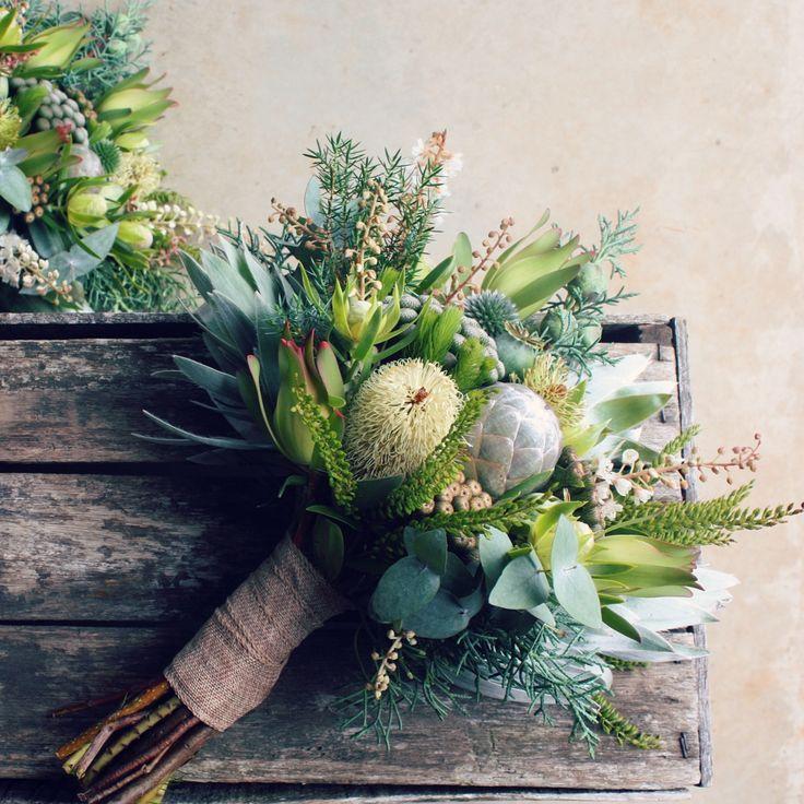 Green bridesmaid's bouquet by Swallows Nest Farm Banksias, Leucadendron Silver Tree, Eucalyptus, Natives.