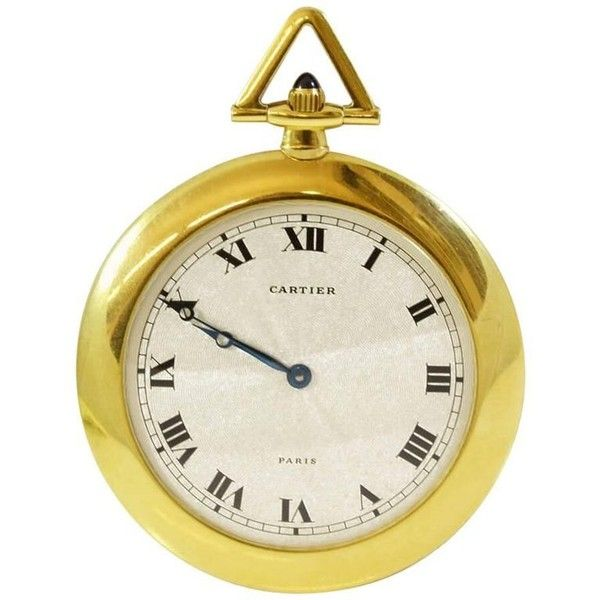 Preowned Cartier Yellow Gold Pocket Watch ($7,884) ❤ liked on Polyvore featuring jewelry, watches, pocket watches, yellow, gold wristwatches, white dial watches, roman numeral pocket watch, gold watches and gold pocket watches