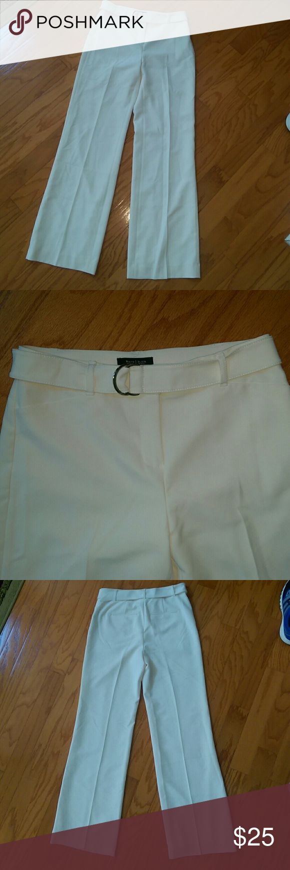 """WHBM wide leg trousers Ladies?Off-white (ivory)?wide leg?stretch trousers/ pants?from WHITE HOUSE BLACK MARKET  Size 2R  Waist: 29"""" Hips: 40"""" Rise: 10"""" Inseam: 32"""" Thigh width: 24"""" Width at bottom of leg: 21""""  STRETCH?fabric (91% polyester, 9% SPANDEX)  Front & hip flat pockets (still factory sewn shut).??Belt with gold tone buckle. Fully lined.   Machine Washable. STRETCH.  In?excellent condition.  No stains, tears or holes. White House Black Market Pants Trousers"""