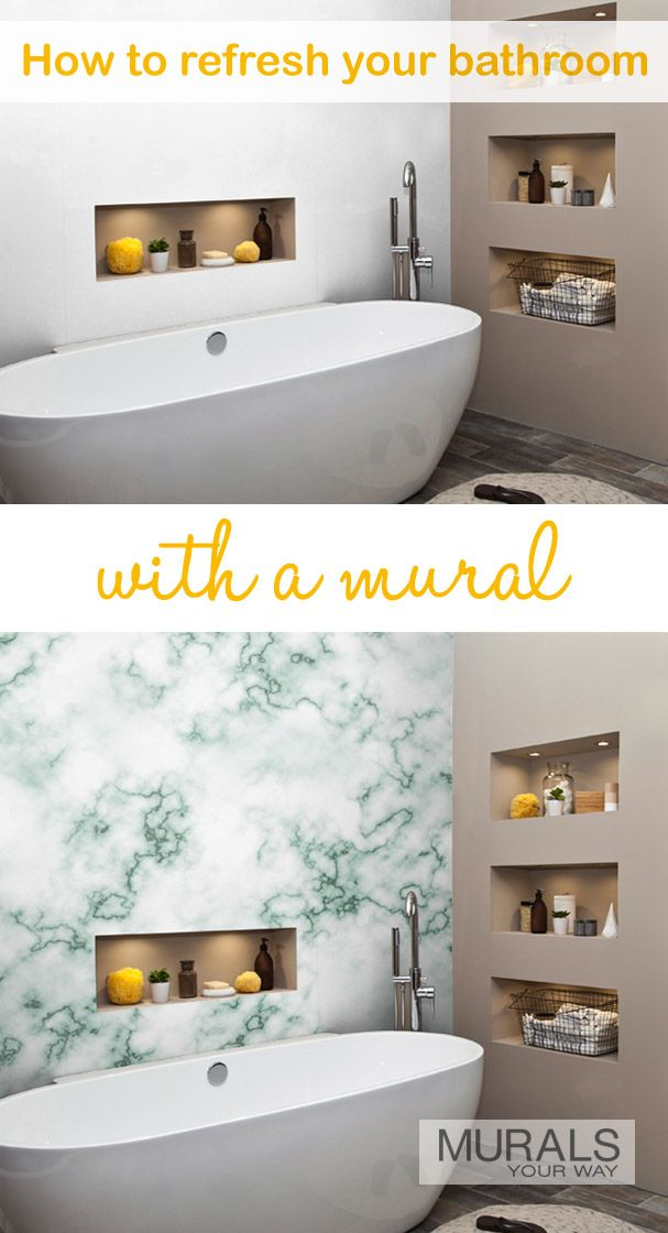 Marble is a very popular choice for the bathroom. Installing marble wallpaper is an affordable way to get the look you love. Mural shown is White Aqua Blue Marble.(RF12907979).
