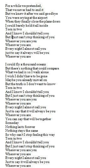 Lyrics to Wherever You Are by 5 Seconds of Summer you have to read it with the song playing just......do it