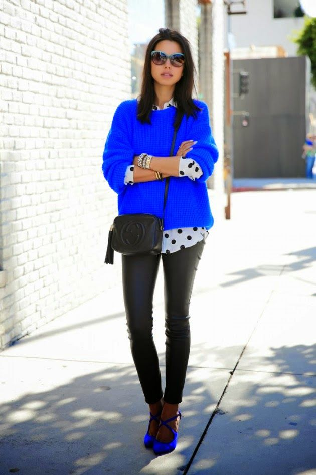 Vestir Con El Color Azul Electrico Este Otono Como Combinar Zapatos Azules Outfits Pantalones Azul Electrico