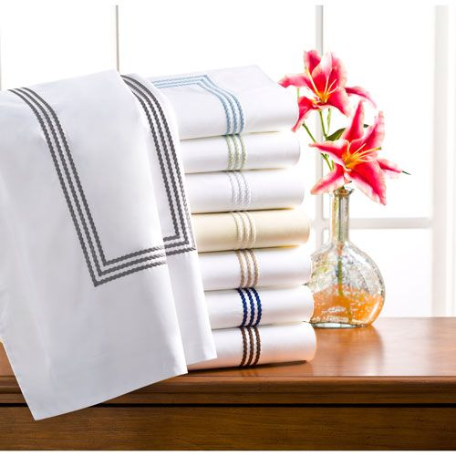 Windsor White and Taupe King Pillow Case, Set of Two - (In No Image Available)