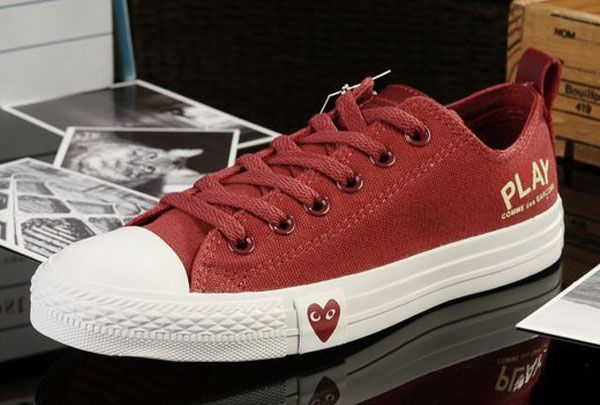cb598c7d992a  converse Edison Loving Heart Limited Edition Converse Play Comme Des  Garcons All Star Chucks Low Tops Red Canvas Sneakers