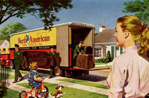 Moving Day ~ 1955 North American Van Lines ad.