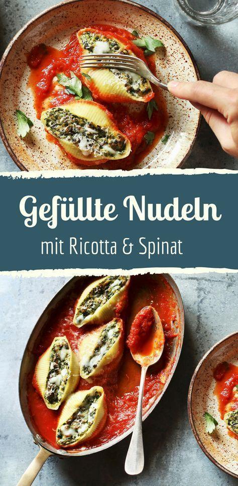Muschelnudeln mit Ricotta-Spinat-Füllung – #lumin…