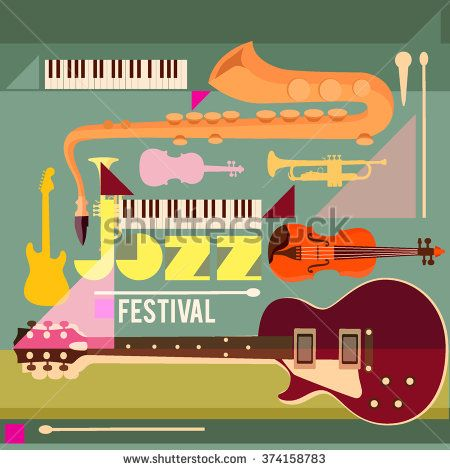 Jazz music festival, poster background template with musical instruments.