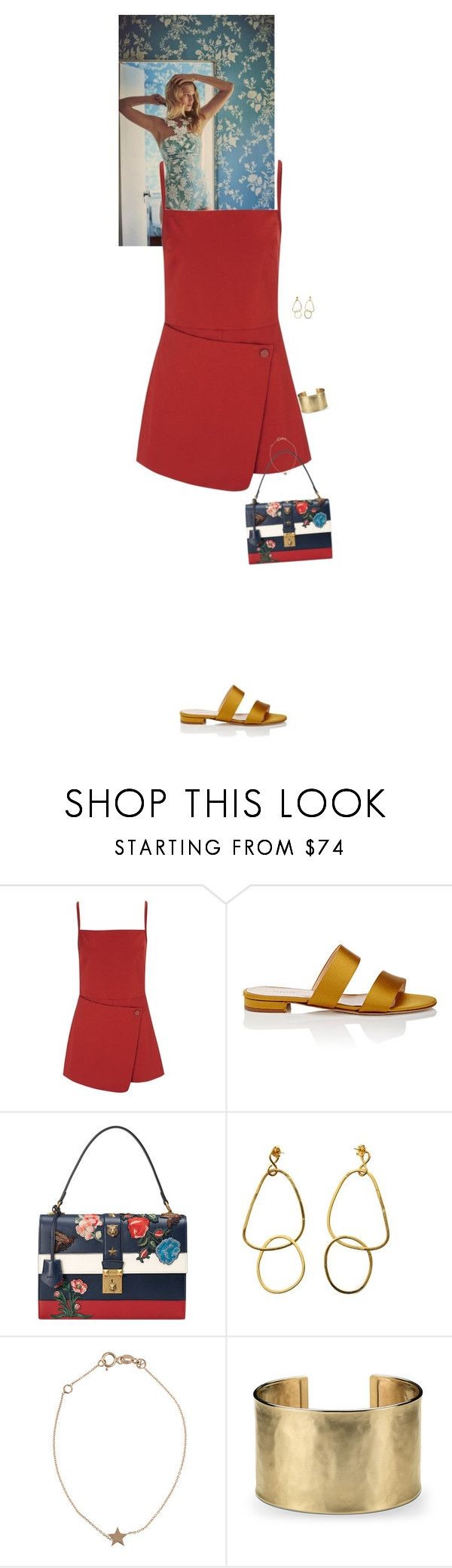 """Outfit of the Day"" by wizmurphy ❤ liked on Polyvore featuring Opening Ceremony, Barneys New York, Gucci, Kismet, Blue Nile, ootd and playsuit"