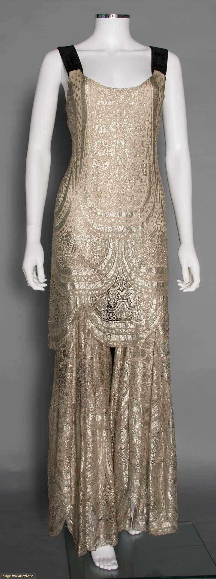 Metallic Jumpsuit w/ Bolero (image 2) | 1930s | lace, velvet | Augusta Auctions | November 12, 2014/Lot 310