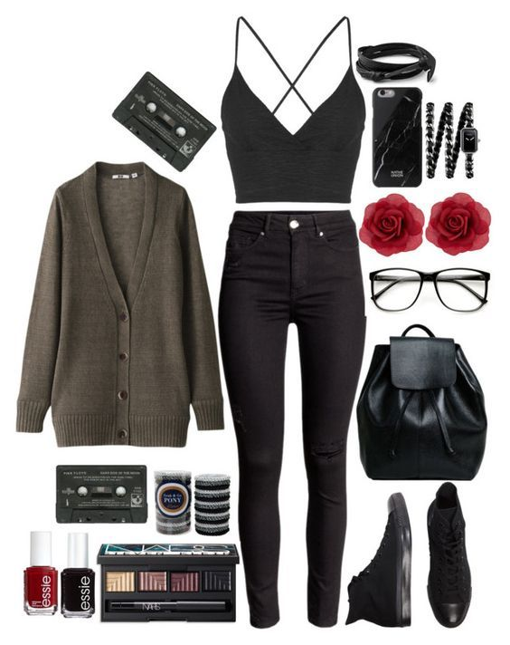 """""""Soft Grunge Fashion"""" by grungekiddhipster ❤ liked on Polyvore featuring Uniqlo, Converse, Topshop, NARS Cosmetics, L. Erickson, Essie, Accessorize, Chanel, Hipster and indie"""