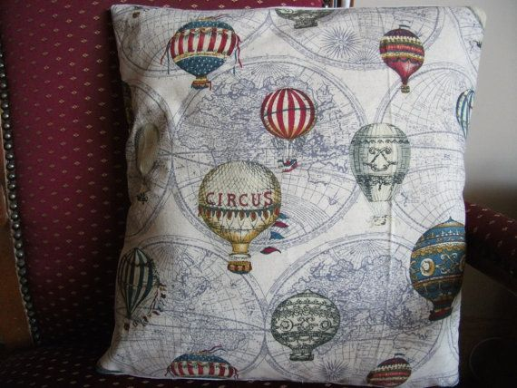 Handmade Cushion/ Pillow 16x16 Vintage Hot Air by OSewEmily