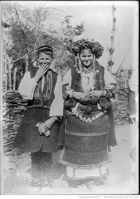 Young Macedonian couple in traditional costumes during WW1   Macedonia 1912-1918