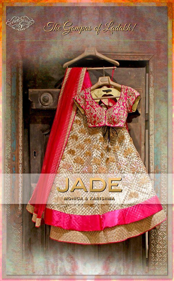 JADE's Elegant Gold Lehenga Ensemble inspired from 'Gompas of Ladakh'. #jadebyMK #jade_byMK #jade #pink #gold