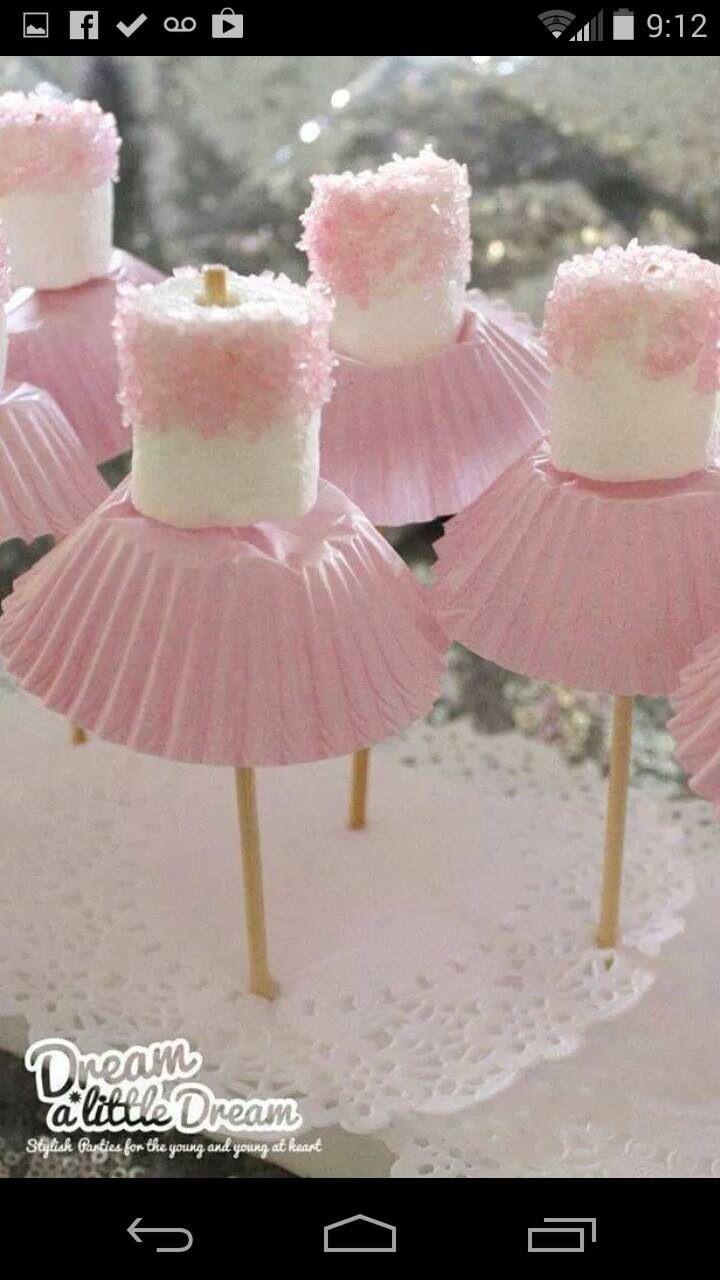 Little ballerina marshmallows- perfect for a little girls birthday :)