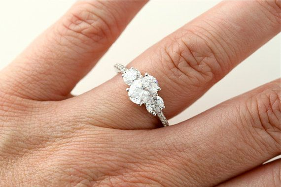 Oval White Sapphire Engagement Ring 14K 3 Stone by RareEarth, $2740.00
