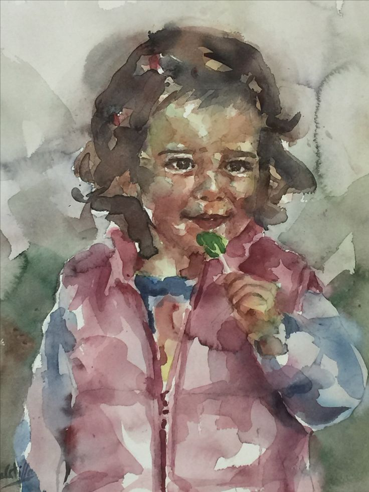 Retrato en acuarela de niña con piruleta