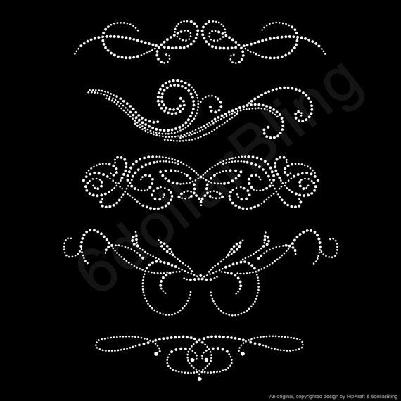 Free shipping on this item within the US!    This listing is for one set of five (5) Swirls (Set 1) iron-on rhinestone transfers made from dazzling
