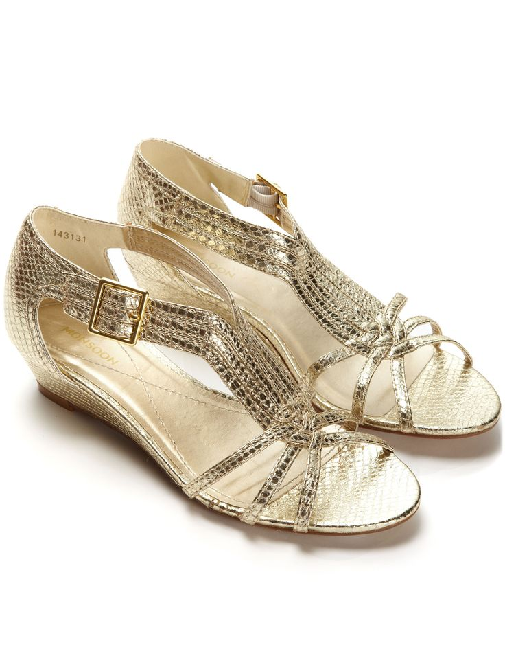 monsoon gold wedge sandals wedding guest dresses