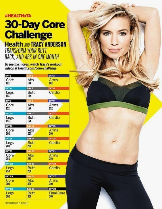 Take the 30-Day Core  Take the 30-Day Core Challenge with HEALTH and TRACY ANDERSON! Get a new workout video every day to transform your butt, back, and abs.  #HEALTHxTA  |  Health.com