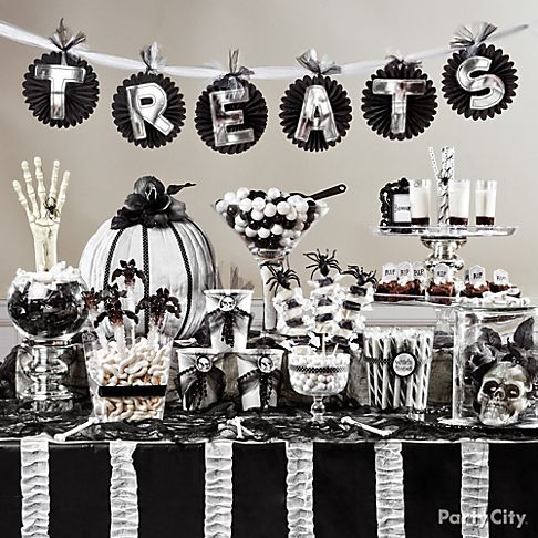 """Black and Bone"" dessert table! The monochrome palette is creepy-chic. Love it!"