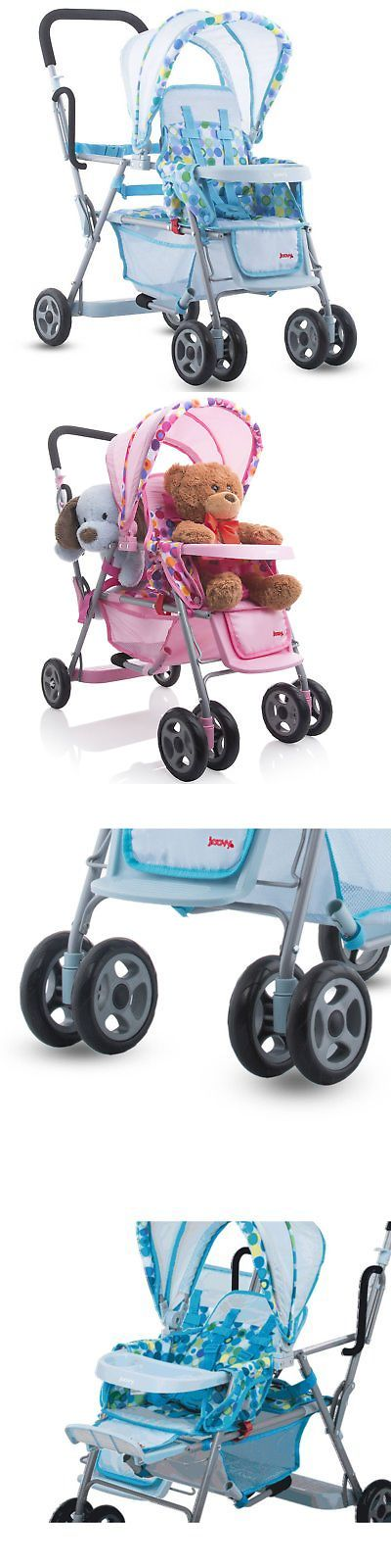 Other Preschool and Pretend Play 19181: Joovy Toy 3 Doll Caboose Folding Pretend Play Children Tandem Stroller, Blue Dot -> BUY IT NOW ONLY: $74.99 on eBay!