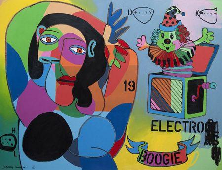 Johnny  Romeo  Ditty, Kitty School  - 2013   Acrylic and oil on canvas   150 x 200 cm