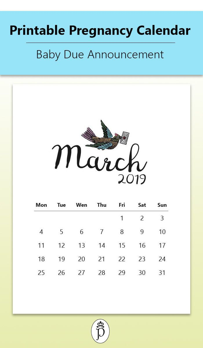 printable pregnancy calendar for your baby due announcements