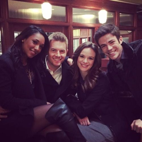 Cast of The Flash: Iris West, Eddie Thawn, Caitlin Snow and Barry Allen