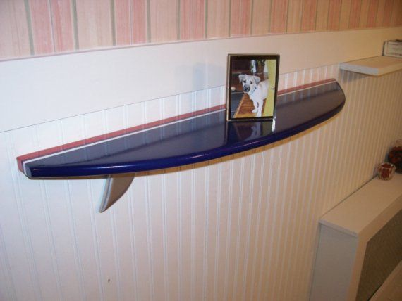 Surfboard shelf  Navy blue with Red and white stripe 3 foot long.