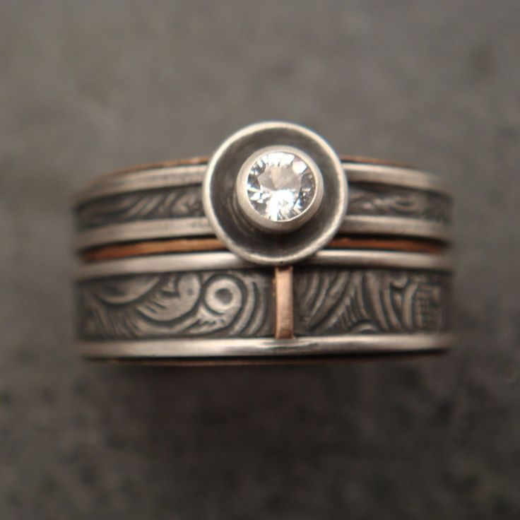 Sunflower Engagement Ring / Wedding Band Set. DownToTheWireDesigns