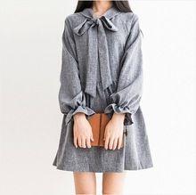 Stile di gusto squisito arco del manicotto della lanterna vestito mori ragazza dolce collegio vestito da partito delle donne abbigliamento casual gonne vestido lolita cawaii  (China (Mainland))