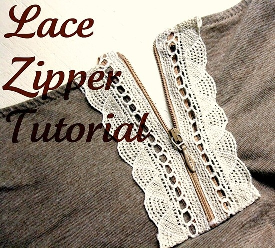 DIY Lace Zipper - I can imagine making a sweatshirt with lace down the front where the zipper is