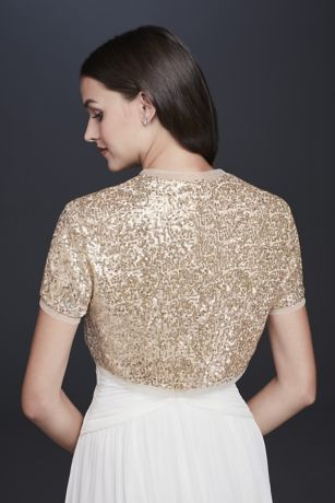 07c028182d06 Sequined Short Sleeve Shrug Style OW2123, Gold, XS in 2019 | Wedding ...