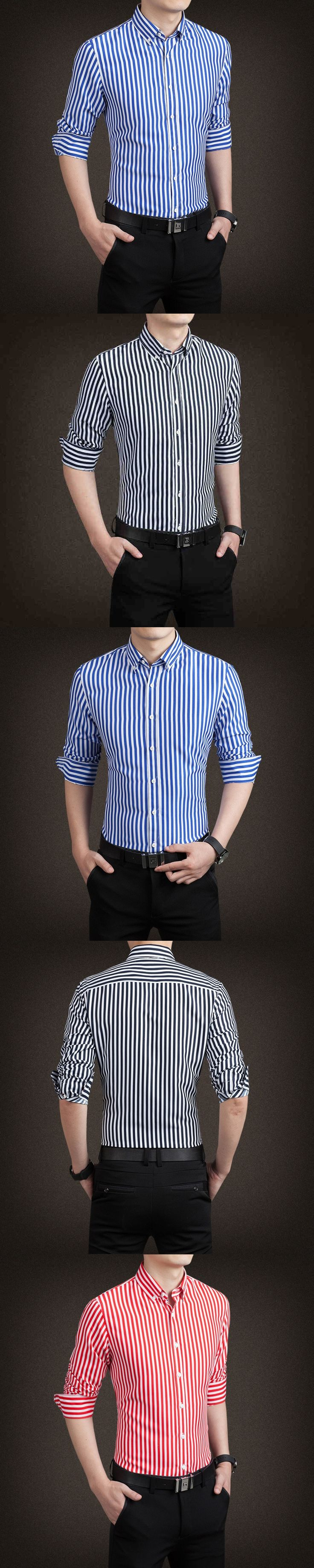 Famous Business Brand Casual Oxford Shirt Men Long Sleeve Slim Fit Fall Cotton Stylish Striped Mens Dress Shirts Free Shipping