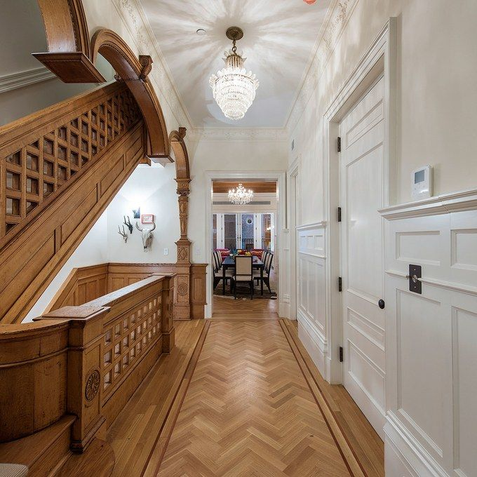 clarence-true-townhouse-5.jpg 1884 Upper West Side Townhouse as featured in Architectural Digest Hallway/Staircase with beautiful Floors, Doors & Details     ia