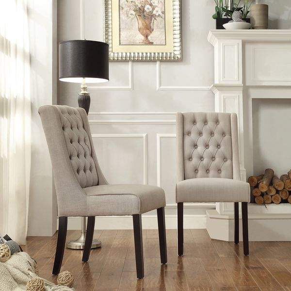 INSPIRE Q Evelyn Oatmeal Linen Tufted Back Hostess Chairs Set Of 2 By Dining ChairsDining TableDining
