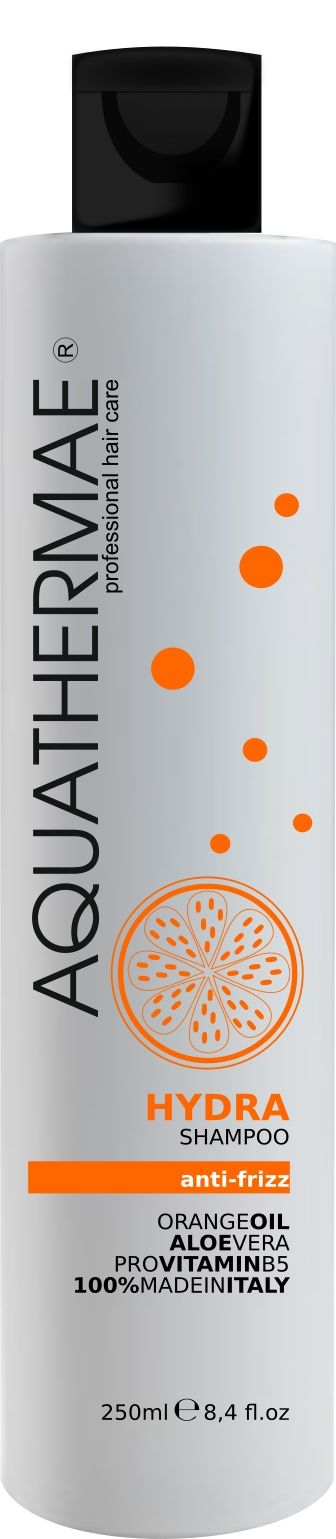 (I) HYDRA: shampoo idratante e levigante per il controllo dei capelli crespi, arricchito con olio di Arancio dolce, Aloe Vera e Pro-vitamina B5. Deterge delicatamente i capelli, fornendo morbidezza e gestibilità per un controllo del crespo a lunga durata. Modo d'uso: Applicare sui capelli bagnati, massaggiare, quindi r isciacquare. Ripetere se necessario.  (GB) HYDRA: moisturizing and anti-frizz shampoo formulated with Orange Oil, Aloe Vera and Pro-vitamin B5. Gently cleanses hair while…
