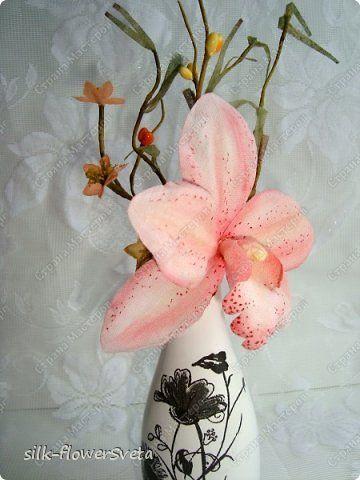 МК Ветка орхидеи.Цветы из ткани.День первый фото 32