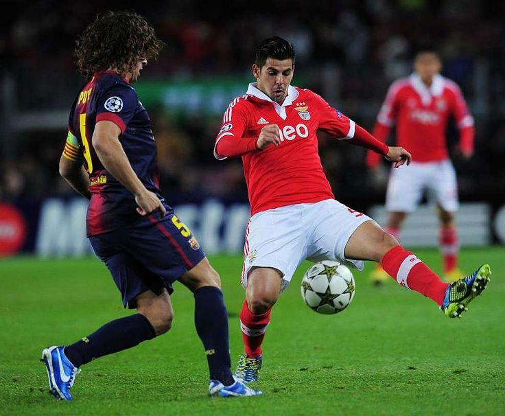 Nolito, ainda no Benfica contra o Barcelona...