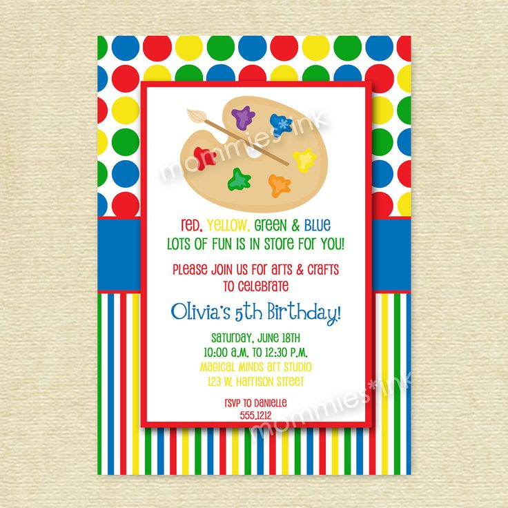 114 best images about Arts and craft party – Art Party Invites
