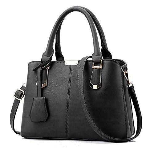 PIKALANARY Women Top Handle Satchel Handbag Shoulder Bag Business Briefcase Tote Laptop Bag (Black)