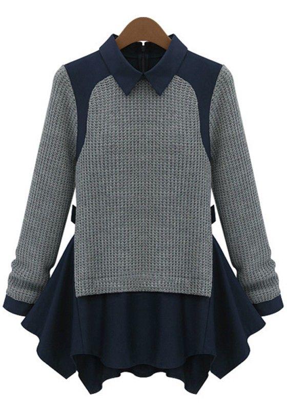 Grey Patchwork False 2-in-1 Pullover