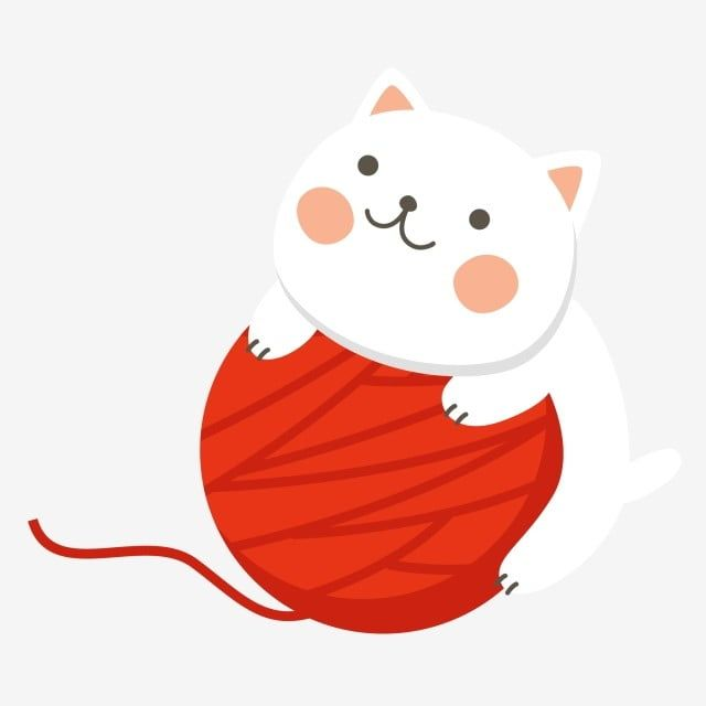 Cat Red Yarn Wool Cat Playing With Wool Cat Clipart Kitty Cartoon Cat Png And Vector With Transparent Background For Free Download Cartoon Cat Cat Playing Wool Cat