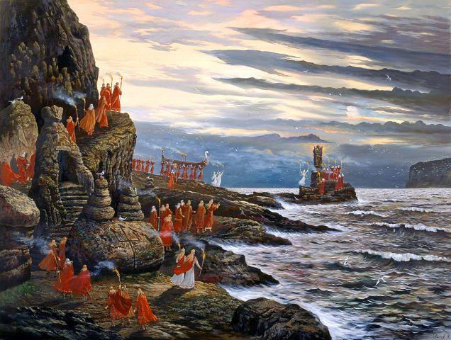 "Paintings of Vsevolod Ivanov Hyperborea. painting ""The Day the Sea Goddess"""