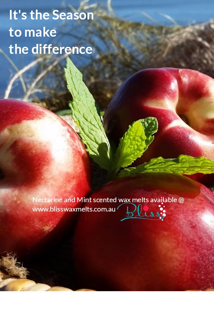 The lively scent of a ripe delicious nectarine to tempt your senses - together with the refreshing aroma of mint. Sensational! www.blisswaxmelts.com.au