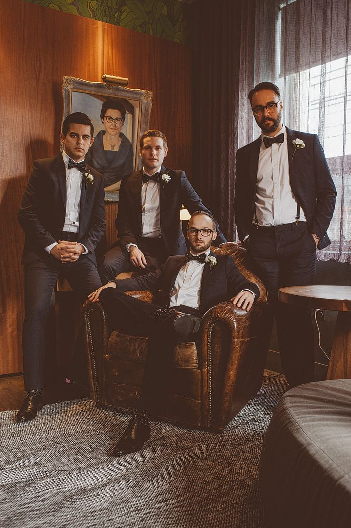 Handsome groomsmen getting ready pose in a very Vogue style shoot. Wedding Planning by Distinct Occasions (www.distinctoccasions.ca).